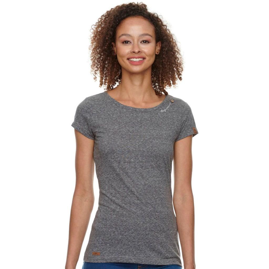 Ragwear Plus T-Shirt »MINT PLUS«, mit geschwungenem Logoschriftzug und Zierknopf in natürlicher Holzoptik