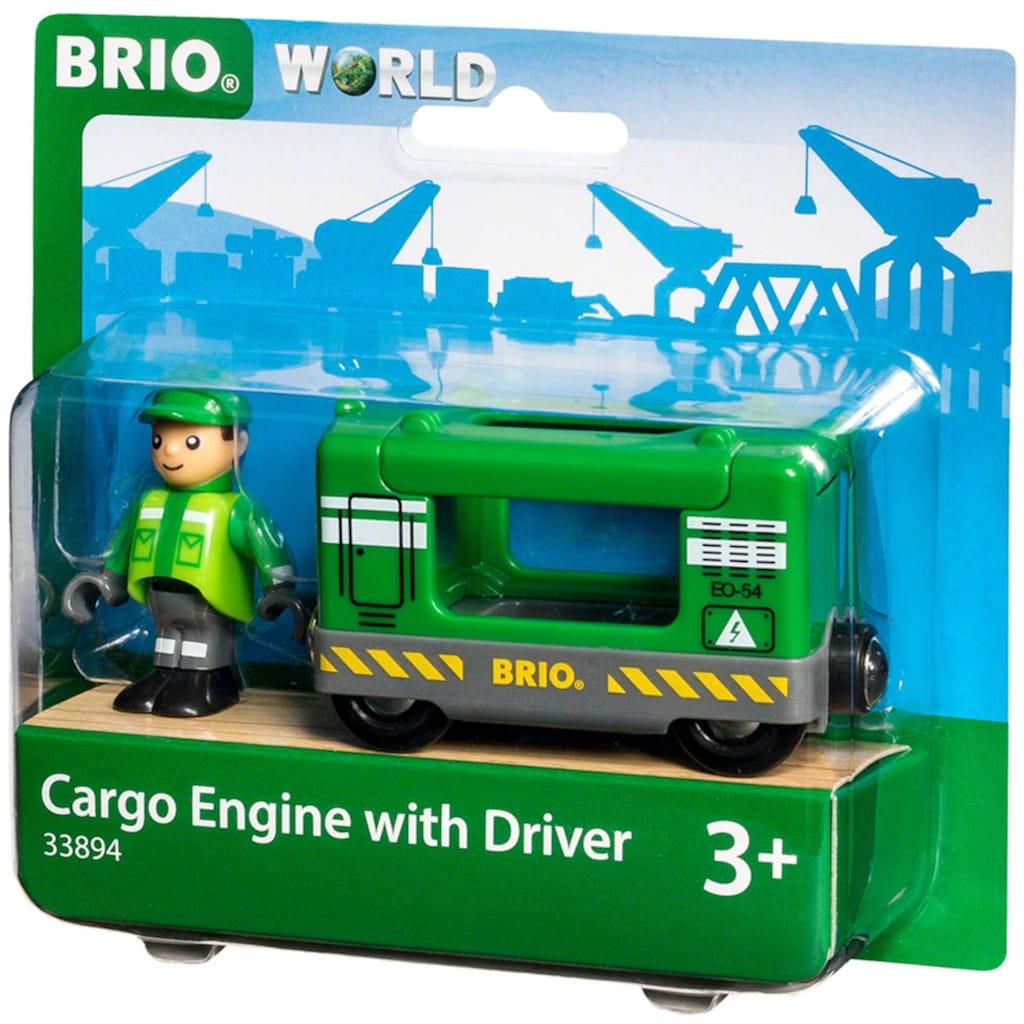 BRIO® Spielzeug-Eisenbahn »BRIO® WORLD Frachtlok mit Fahrer«, FSC®-Holz aus gewissenhaft bewirtschafteten Wäldern