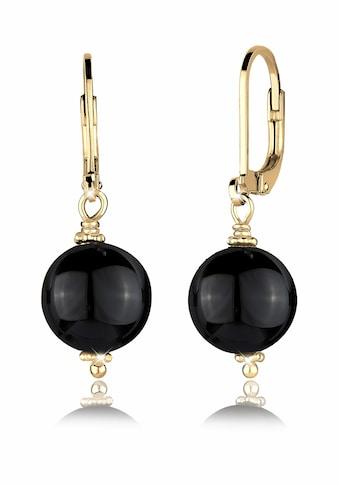 Elli Paar Ohrhänger »Basic Edelsteine Rund Klassisch Onyx Silber vergoldet« kaufen