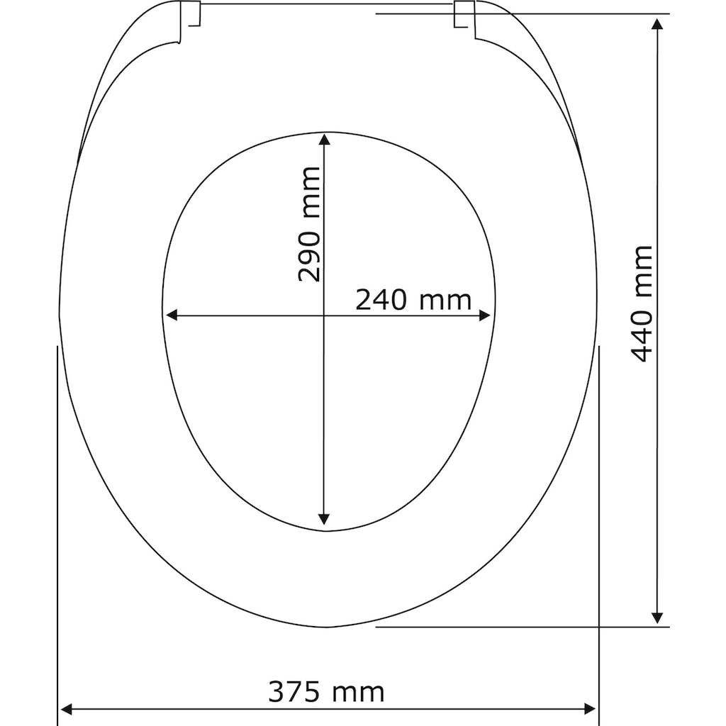WENKO WC-Sitz »Waterdrop Grau«, aus Duroplast, mit Absenkautomatik