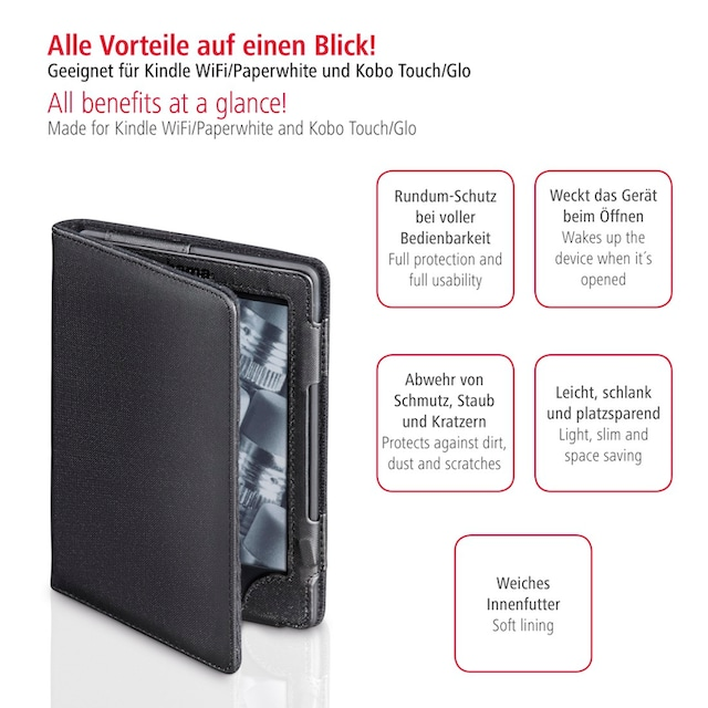 Hama eBook-Case für Kindle WiFi/Paperwhite und Kobo Touch/ Glo »E-Reader Tasche Arezzo Schwarz«