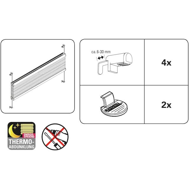 Plissee, »Easyfix Thermo-Plissee mit 2 Bedienschienen Energiesparend«, GARDINIA, verdunkelnd, ohne Bohren, verspannt