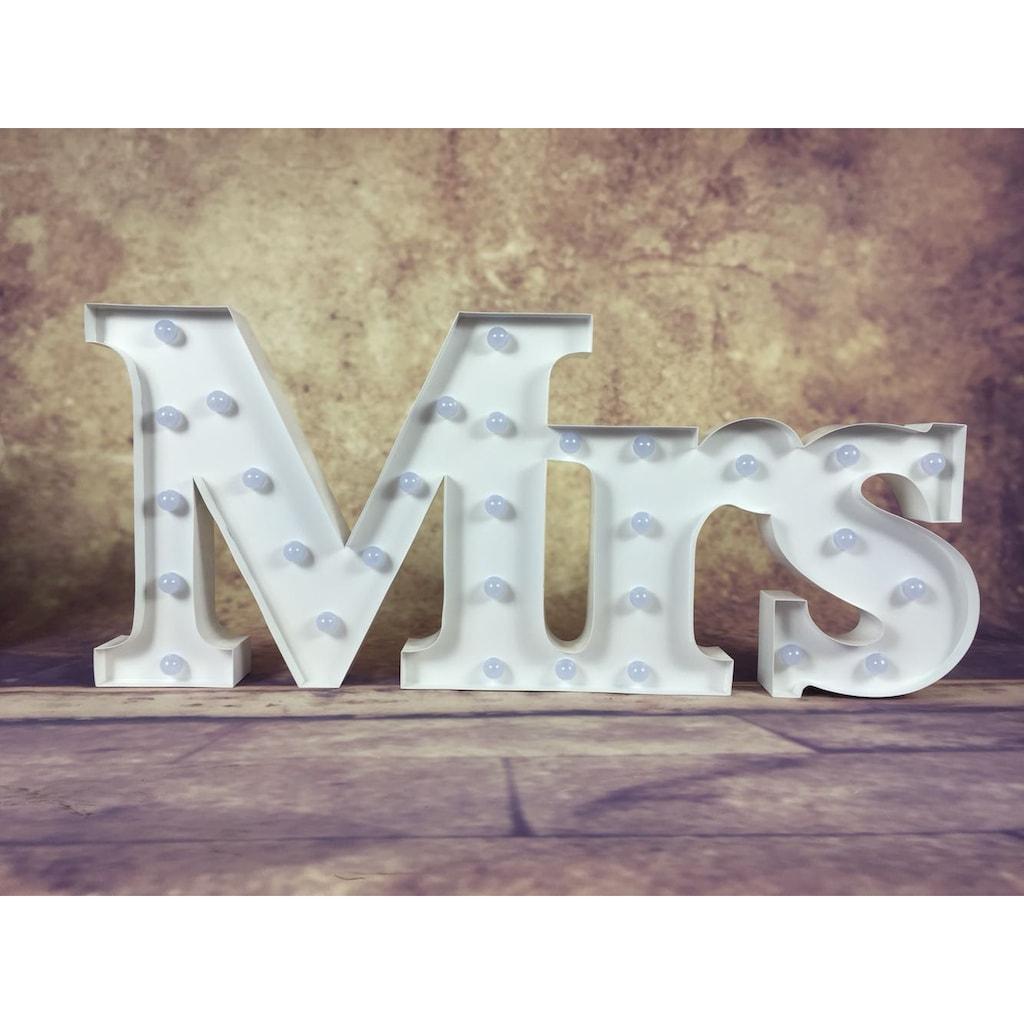 MARQUEE LIGHTS LED Dekolicht »Mrs Schriftzug«, 1 St., Warmweiß, Wandlampe, Tischlampe Mrs mit 30 festverbauten LEDs - 88cm Breit und 38cm hoch