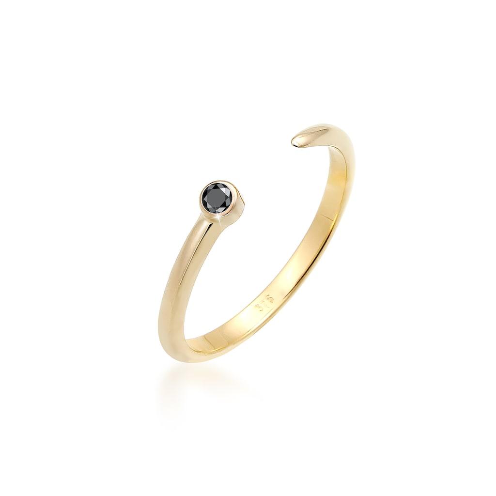 Elli Diamantring »Solitär Schwarzer Diamant (0.03 ct.) 375 Gelbgold«