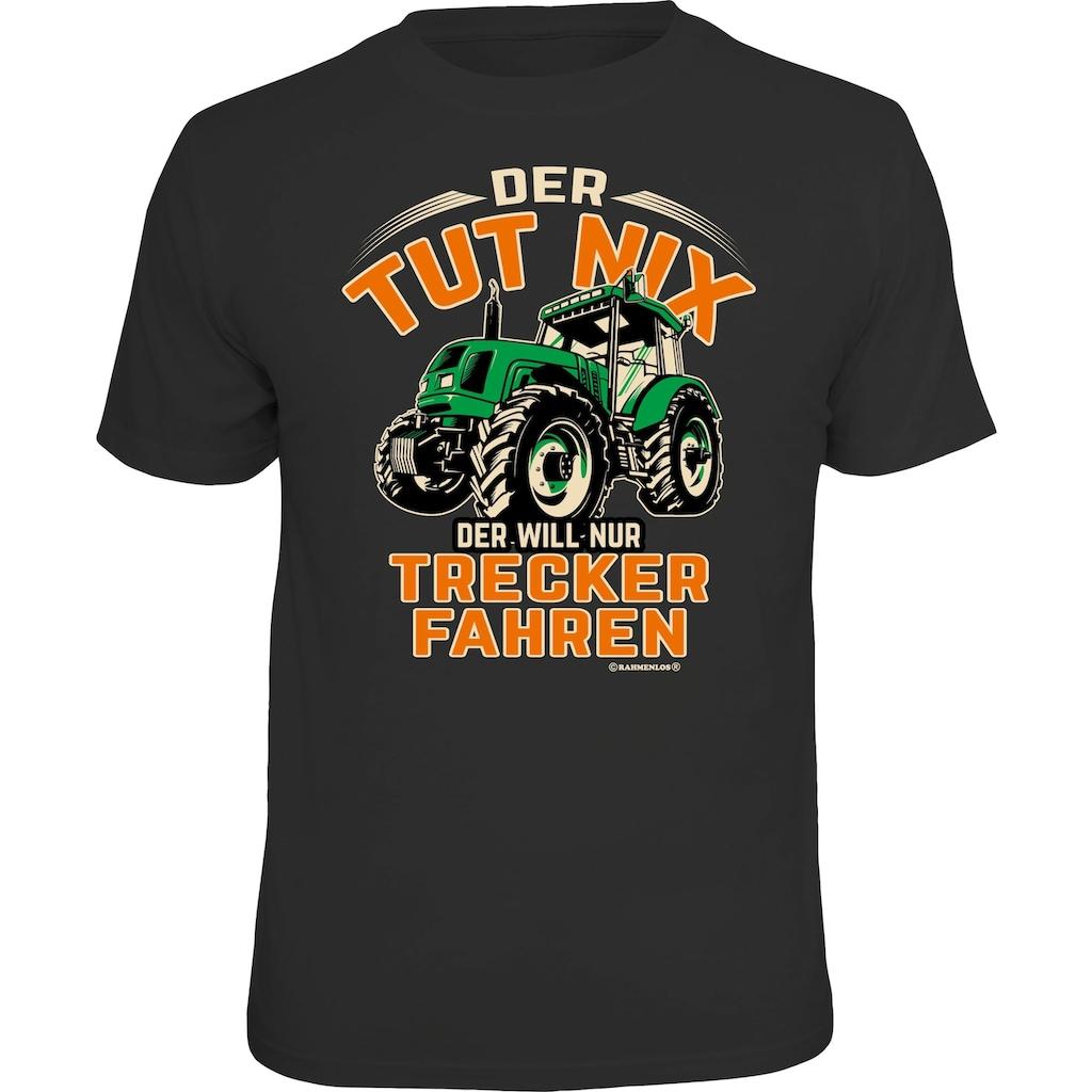 Rahmenlos T-Shirt mit lustigem Trecker-Aufdruck