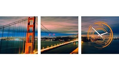 Conni Oberkircher´s Bild »Golden Gate«, Brücken, (Set), mit dekorativer Uhr kaufen