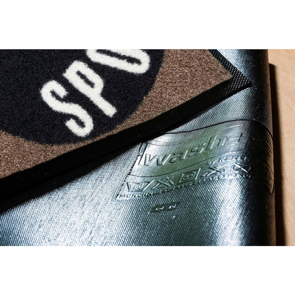 wash+dry by Kleen-Tex Fußmatte »Sportskanone«, rechteckig, 7 mm Höhe, Fussabstreifer, Fussabtreter, Schmutzfangläufer, Schmutzfangmatte, Schmutzfangteppich, Schmutzmatte, Türmatte, Türvorleger, mit Spruch, In- und Outddor geeignet