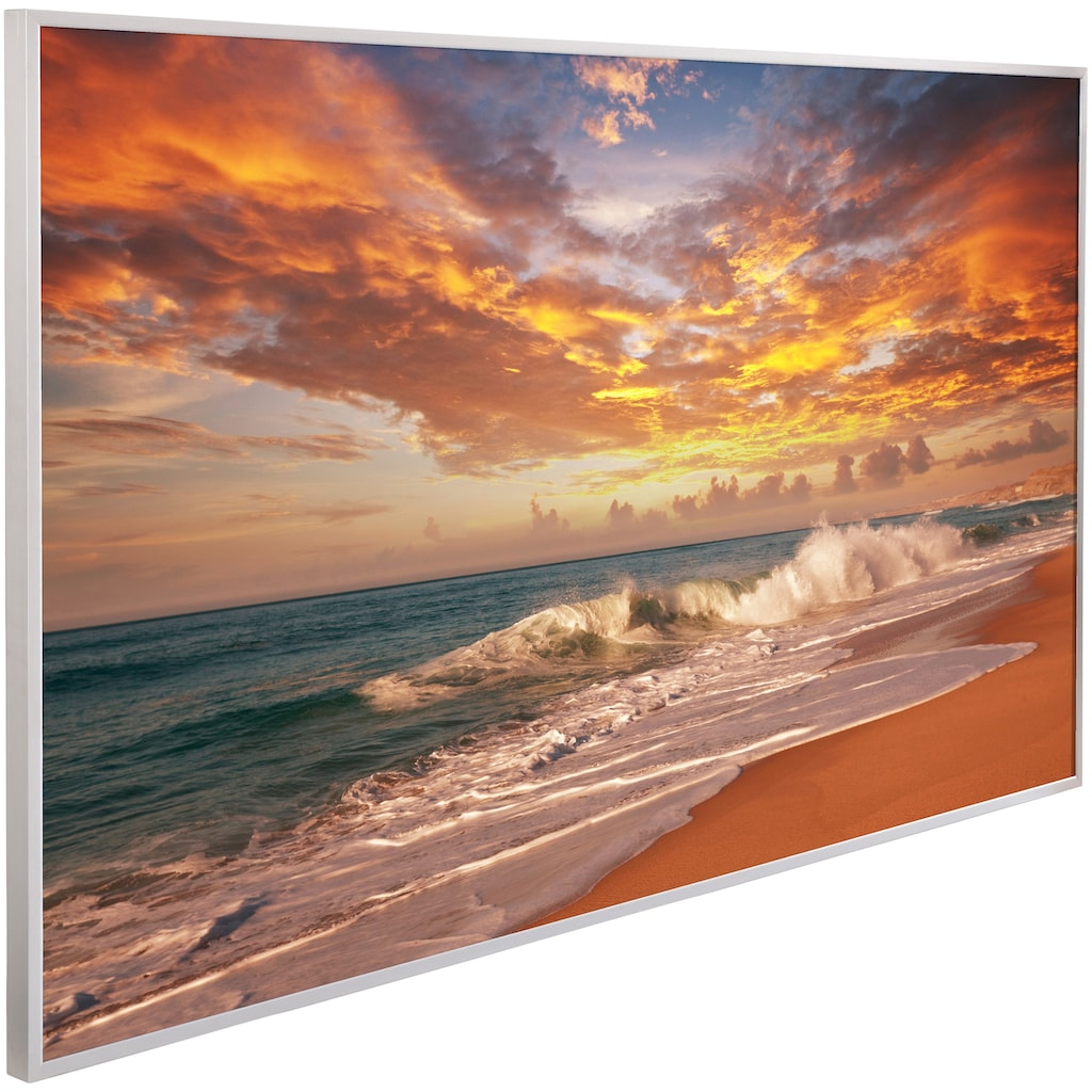 Papermoon Infrarotheizung »Sonnenuntergang Strand, EcoHeat«, Aluminium, 600 W, 100x60 cm, mit Rahmen