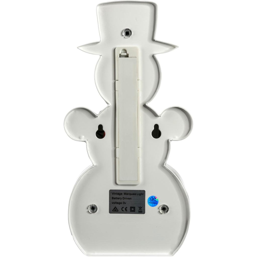 MARQUEE LIGHTS LED Dekolicht »Schneemann«, 1 St., Warmweiß, Wandlampe, Tischlampe Snowman mit 19 festverbauten LEDs - 12cm Breit und 23cm hoch