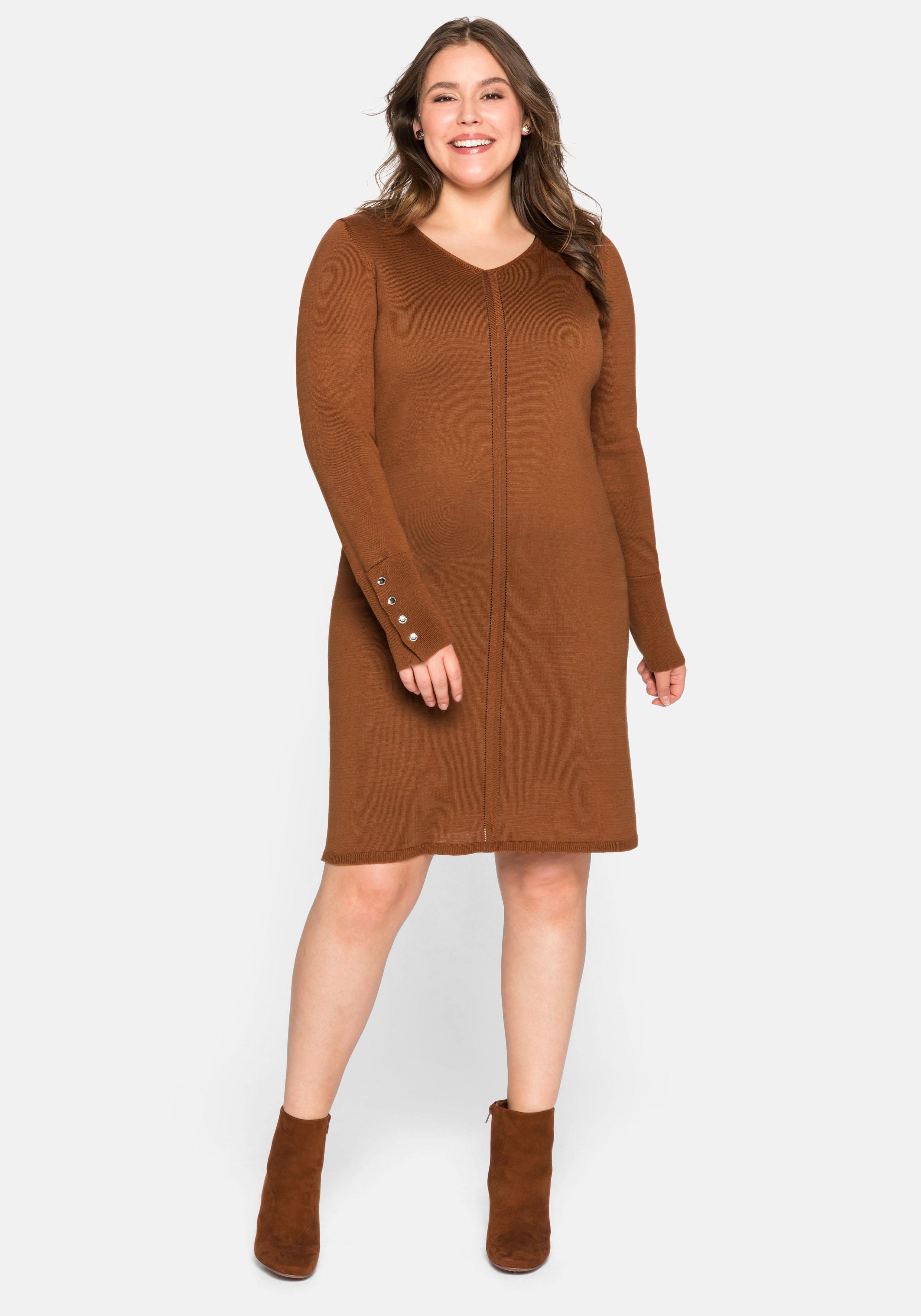 Sheego Strickkleid, aus Feinstrick braun Damen Strickkleider Kleider Strickkleid