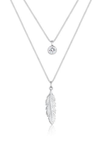 Elli Collierkettchen »Layer mit Feder und Swarovski® Kristalle« kaufen