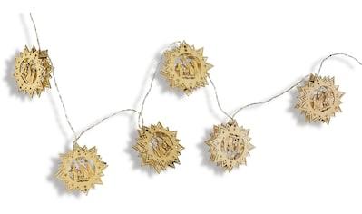 Lichterkette, mit Holz-Ornamenten, Länge ca. 160 cm, Batteriebetrieb kaufen