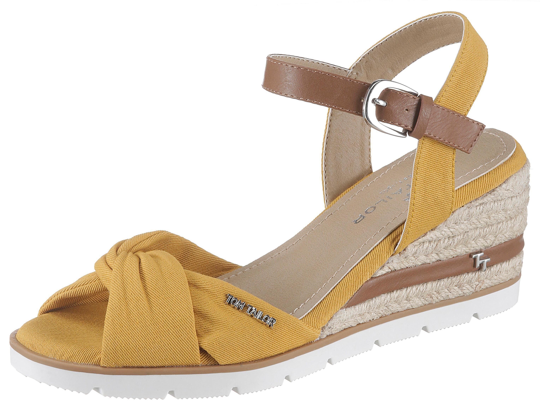 TOM TAILOR Sandalette, mit Label gelb Damen Sandaletten Sandalen Sandalette