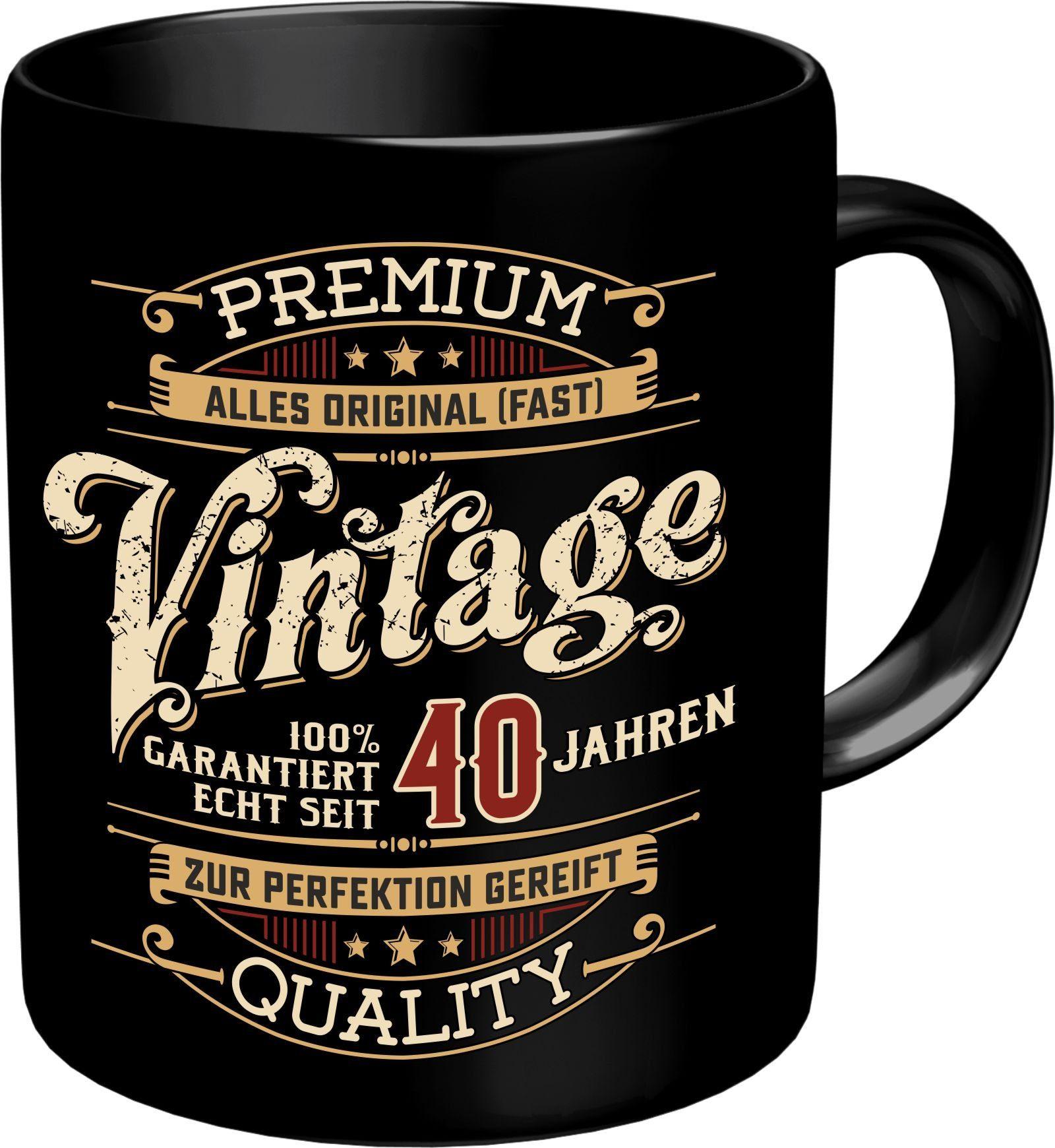 Kaffeebecher zum 40. Geburtstag im Geschenkkarton RAHMENLOS bunt