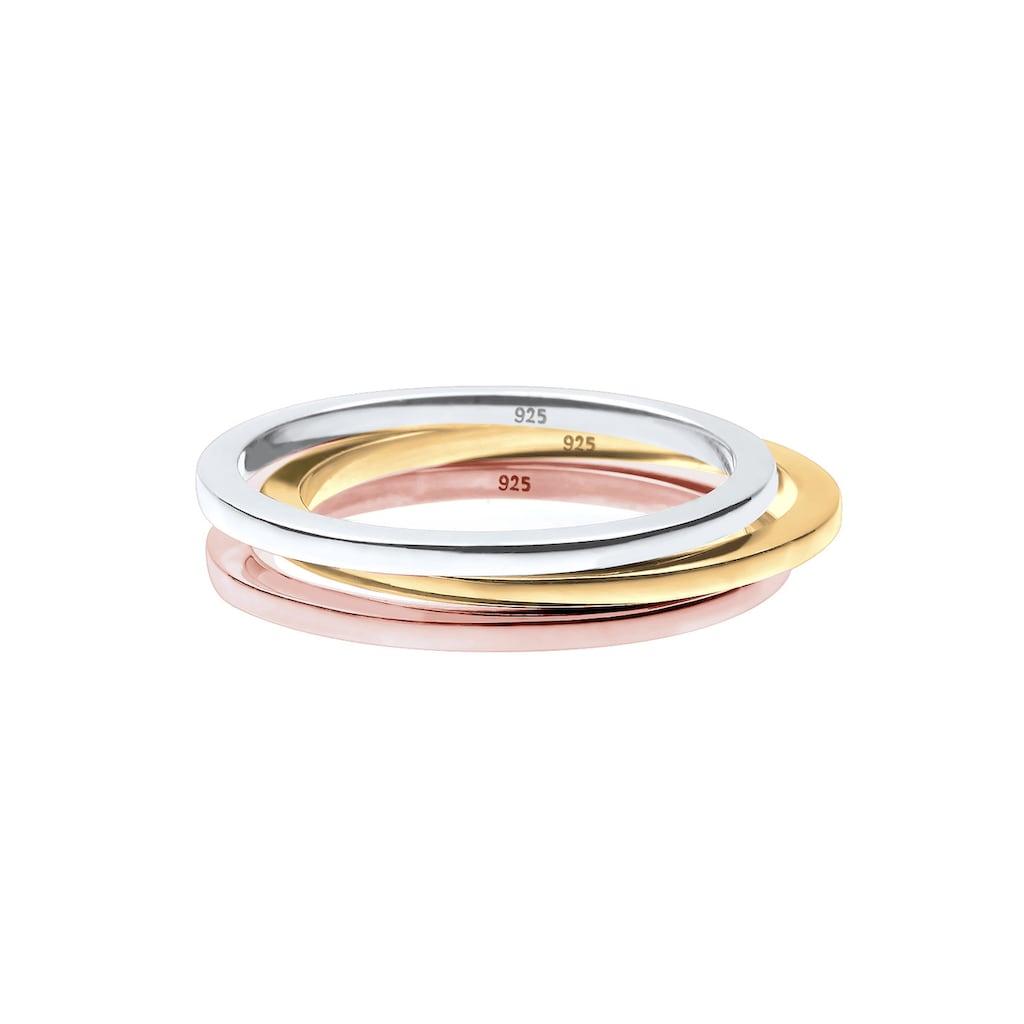 "Elli Ring-Set »(Set,3 tlg) ""Stacking-Rings"" Tricolor 925 Silber«"