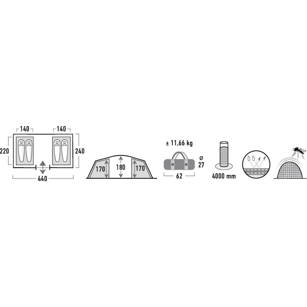 High Peak Tunnelzelt »Tauris 4«, 4 Personen, (Set, mit Transporttasche)