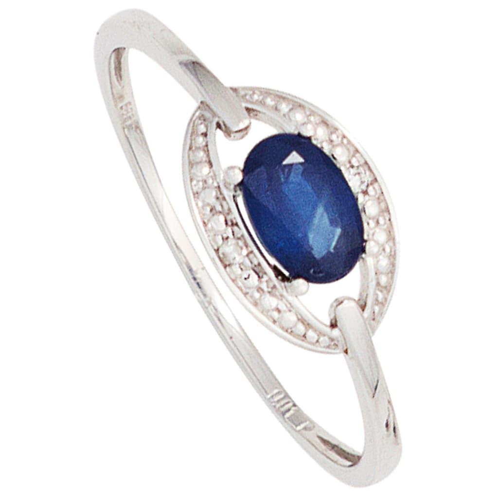 JOBO Diamantring, 585 Weißgold mit Safir und 2 Diamanten