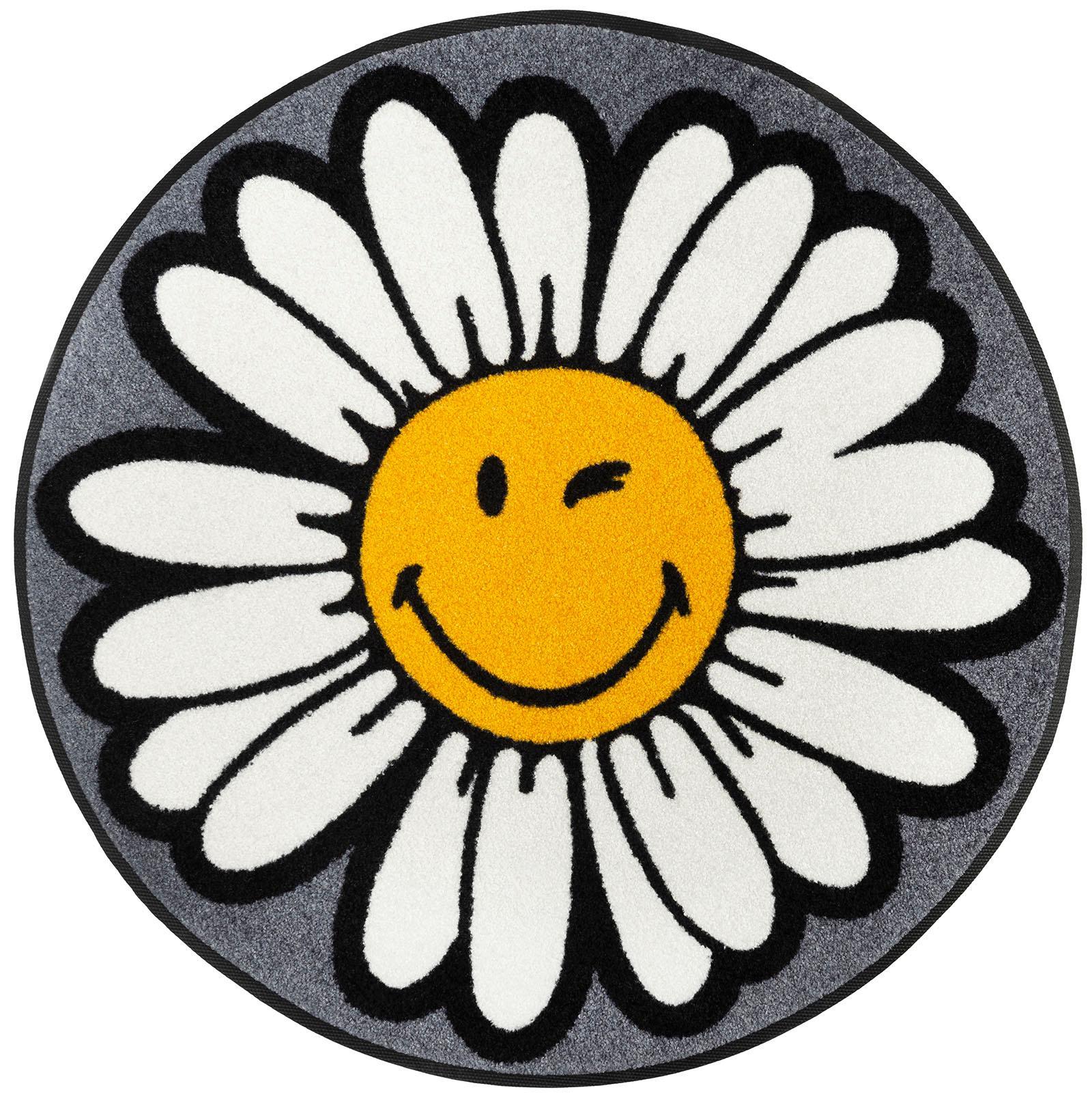 Teppich Smiley Daisy wash+dry by Kleen-Tex rund Höhe 7 mm gedruckt