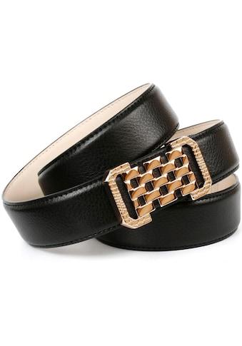 Anthoni Crown Ledergürtel, mit Fashion-Koppelschließe, Ton in Ton Steppung kaufen