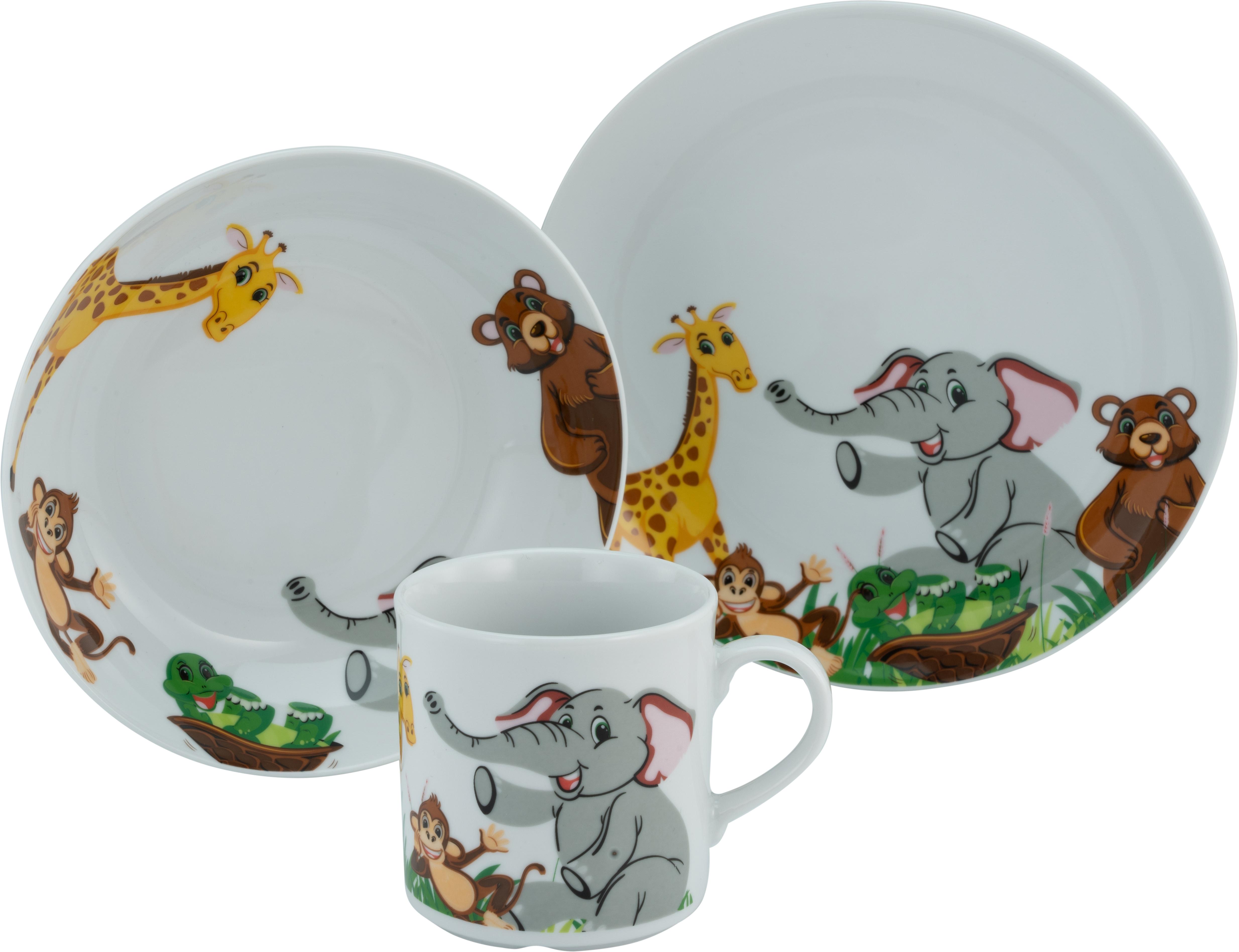 CreaTable Kindergeschirr-Set Zoo, (Set, 3 tlg.), Dekor mit lustigen Zoobewohnern bunt Kinder Kindergeschirr Geschirr, Porzellan Tischaccessoires Haushaltswaren