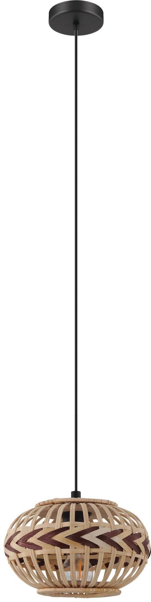 EGLO Hängeleuchte Dondarrion, E27, Holzkorb geflochten, Natur, Braun, Vintage, Hygge, Boho, 1-flammig