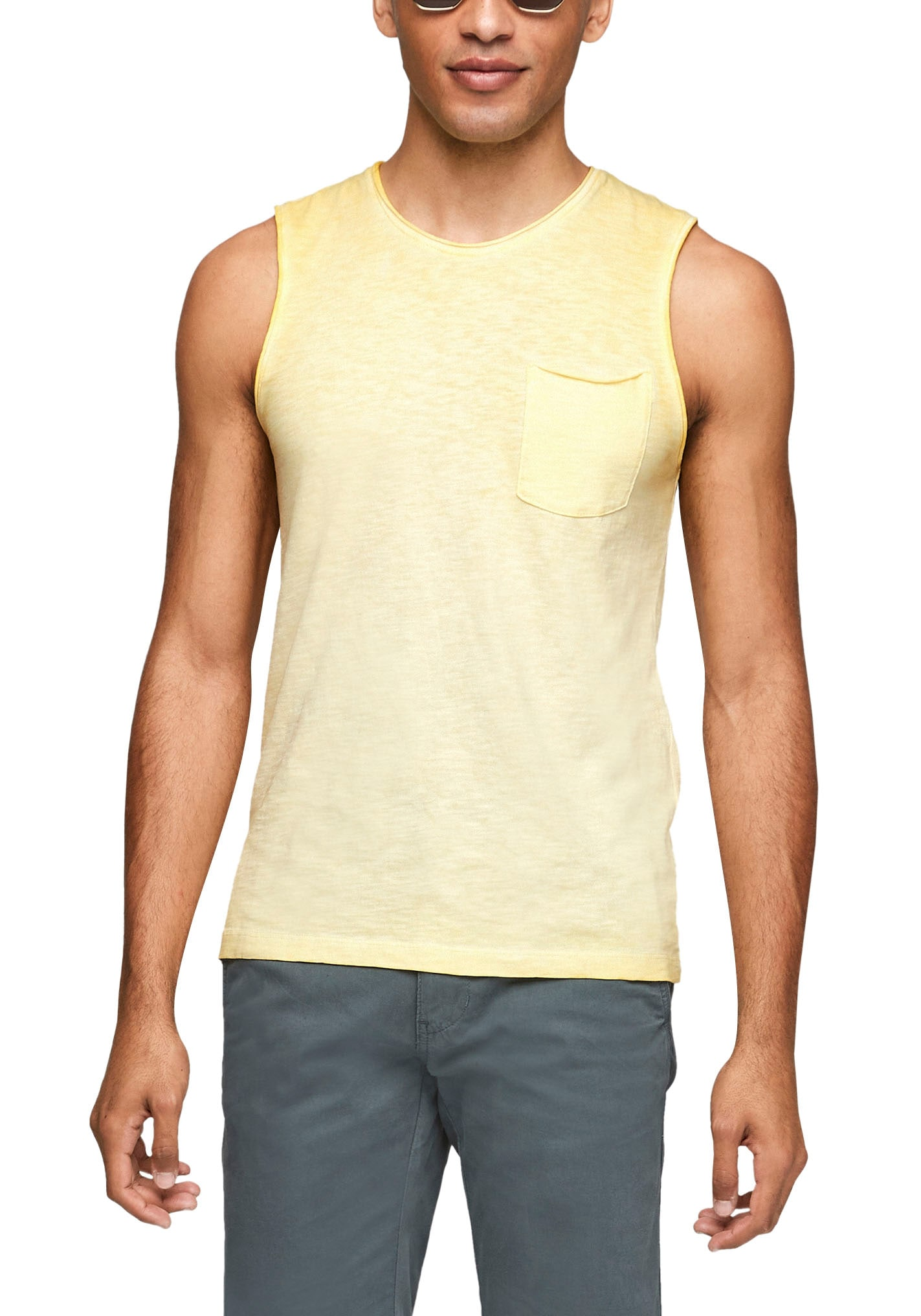 s.Oliver Muskelshirt, ohne Ärmel gelb Herren Muskelshirts Shirts Muskelshirt