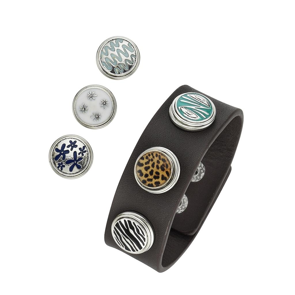 Jacques Charrel Armband »Kunstlederarmband mit Druckknöpfen, Metall«