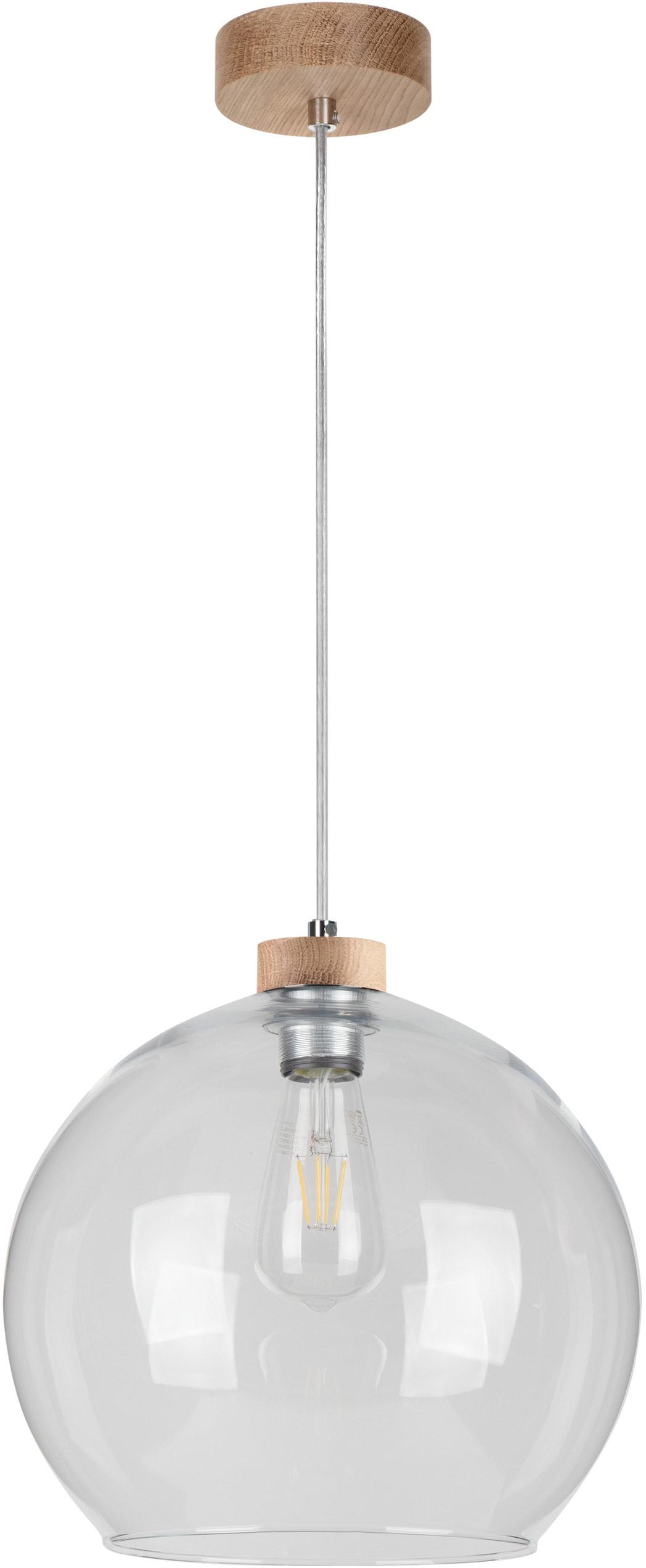 BRITOP LIGHTING Pendelleuchte LAGUNA, E27, 1 St., Naturprodukt aus Eichenholz, Nachhaltig mit FSC-Zertifikat, Hochwertiger Glasschirm, Made in EU