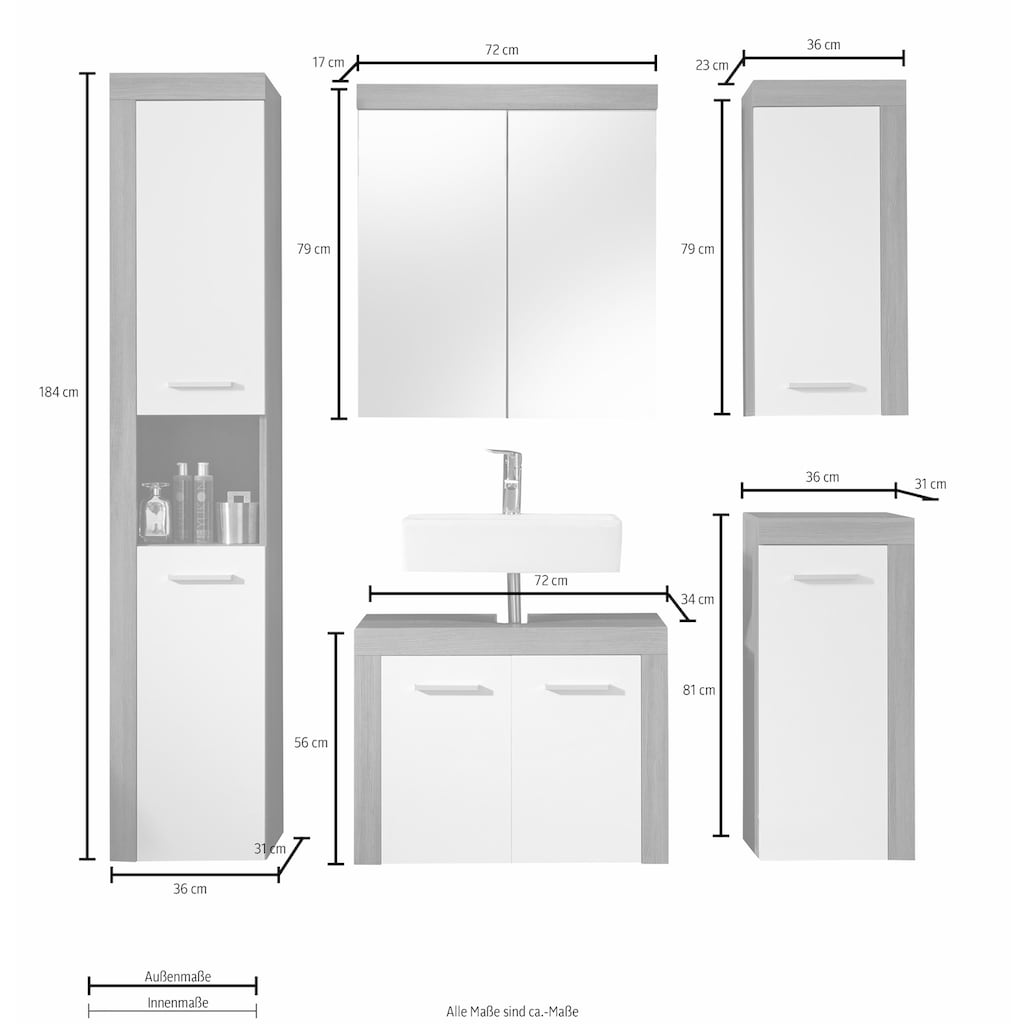 trendteam Badmöbel-Set »Miami«, (Set, 5 St.), mit Rahmen-Optik