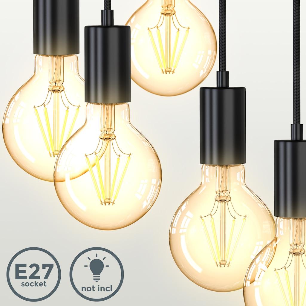 B.K.Licht Pendelleuchte, E27, 1 St., Vintage Hängelampe, 5-Flammig, E27, Matt-Schwarz, Retro Pendellampe, verschiedene Höhen, Ø210x1200mm