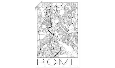 Artland Wandbild »Retro Karte Rom Italien Schwarz & Weiß«, Italien, (1 St.), in vielen Größen & Produktarten - Alubild / Outdoorbild für den Außenbereich, Leinwandbild, Poster, Wandaufkleber / Wandtattoo auch für Badezimmer geeignet kaufen