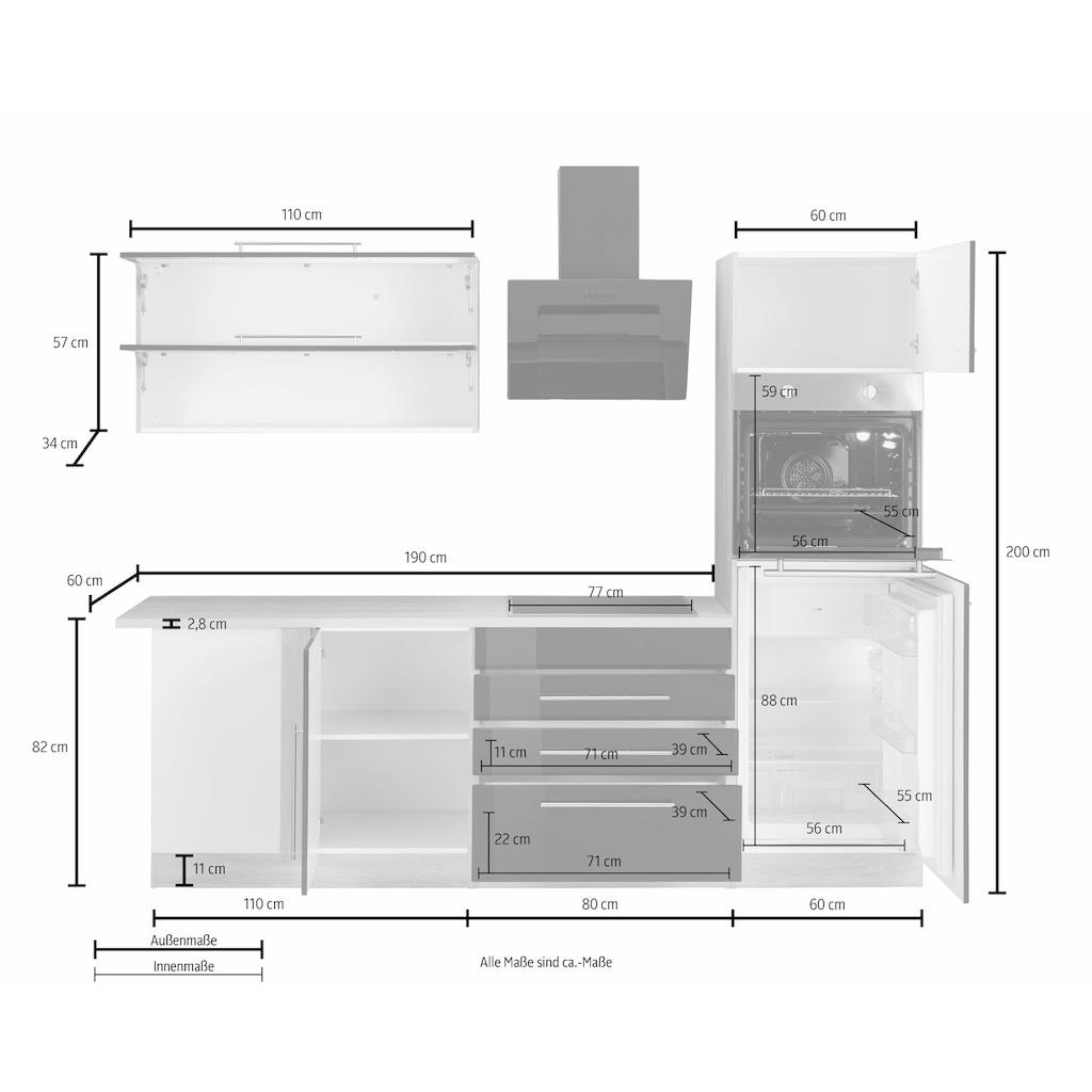 HELD MÖBEL Winkelküche »Samos«, mit E-Geräten, Stellbreite 300 x 250 cm