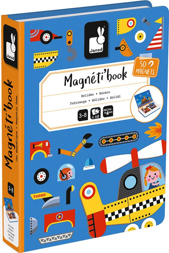 Janod Lernspielzeug Magnetbuch - Fahrzeuge bunt Kinder Lernspiele
