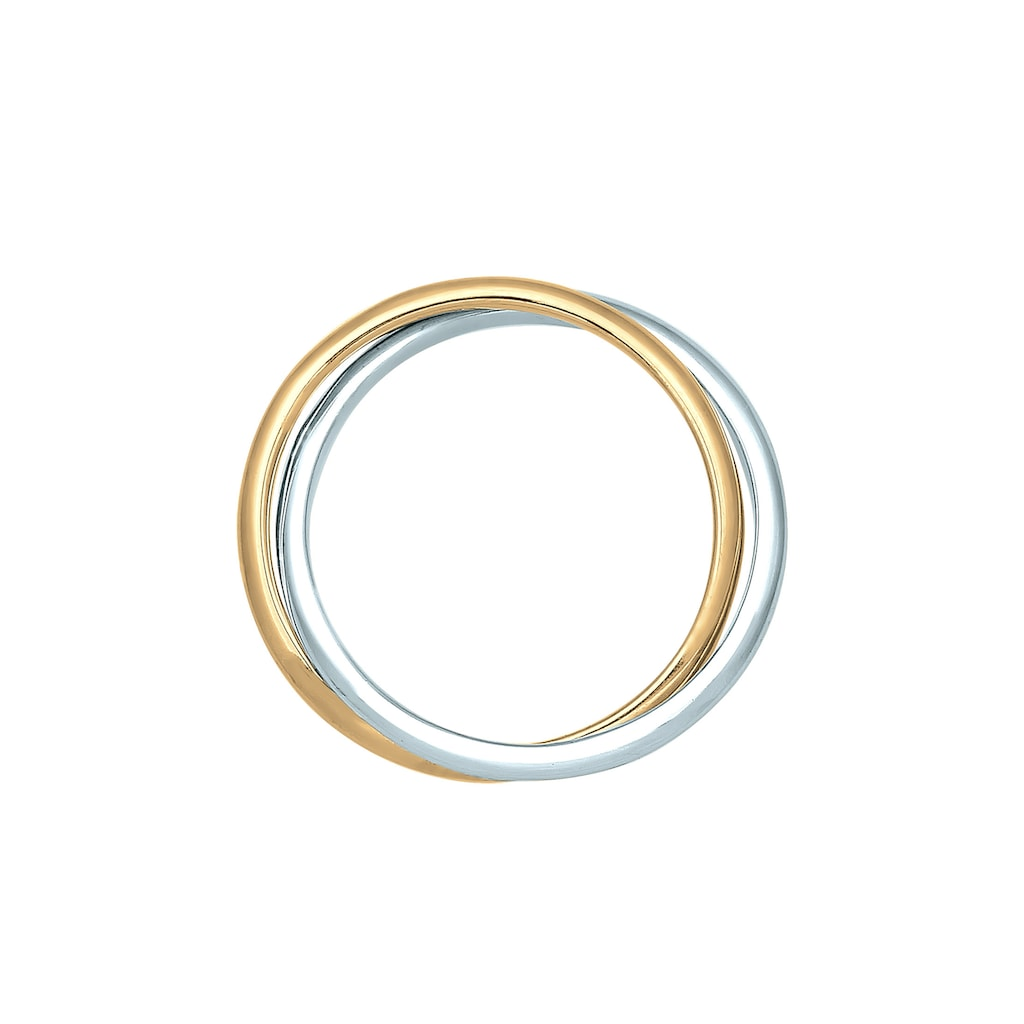 Elli Fingerring »Wickelring Bi-Color Zeitlos 585 Gelbgold Weißgold«