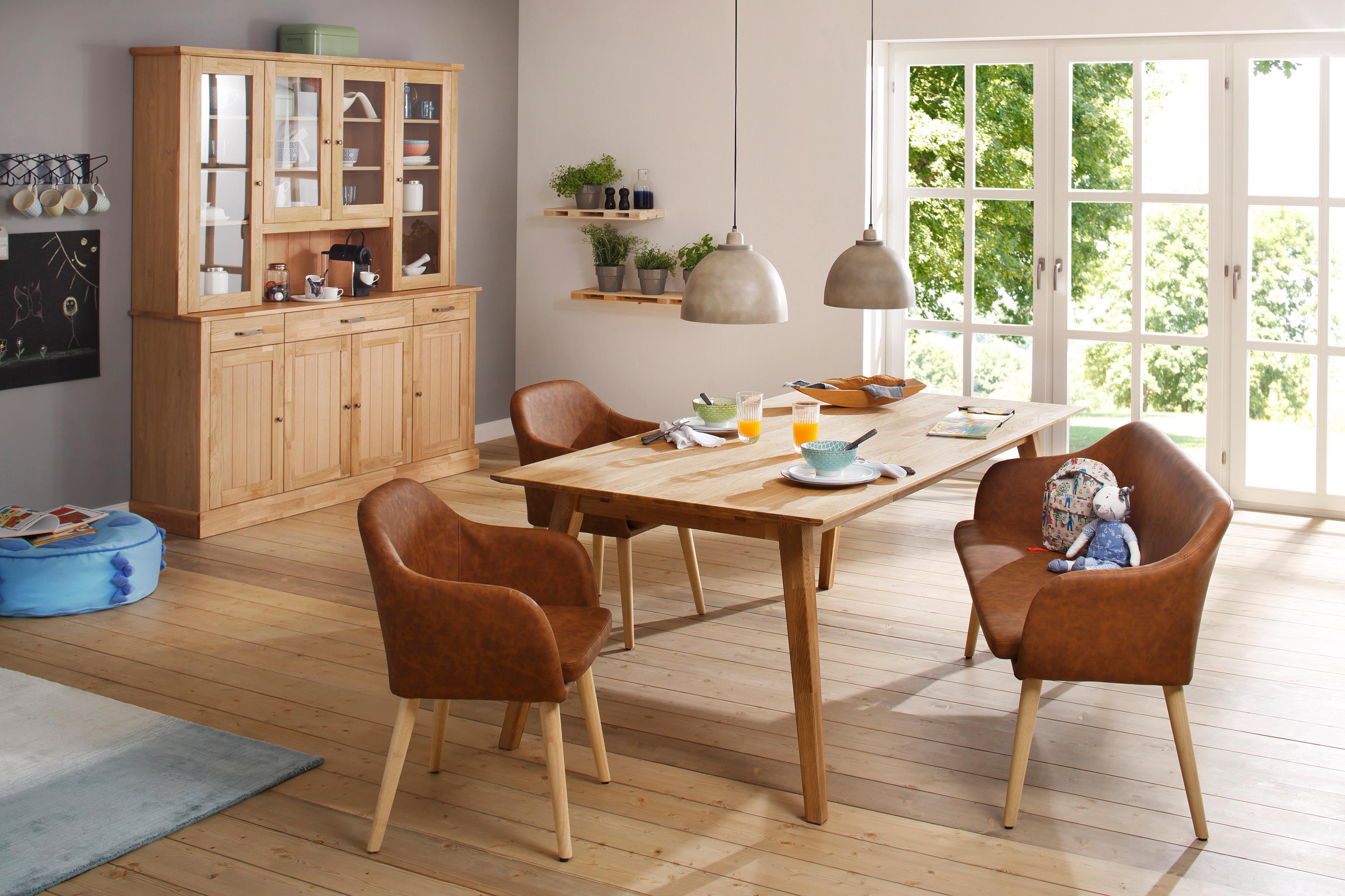 Home Affaire 2er Stuhlset Palma aus massiver Buche und losen Sitzkissen Sitzhöhe 43 cm