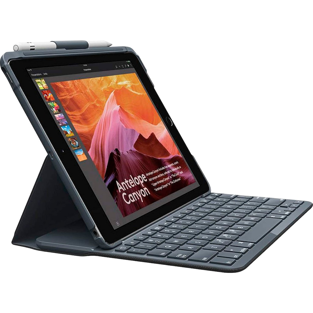 Logitech Tablet-Hülle »Slim Combo with detachable BT Keyboard for iPad, Graphite - DE-Layout«