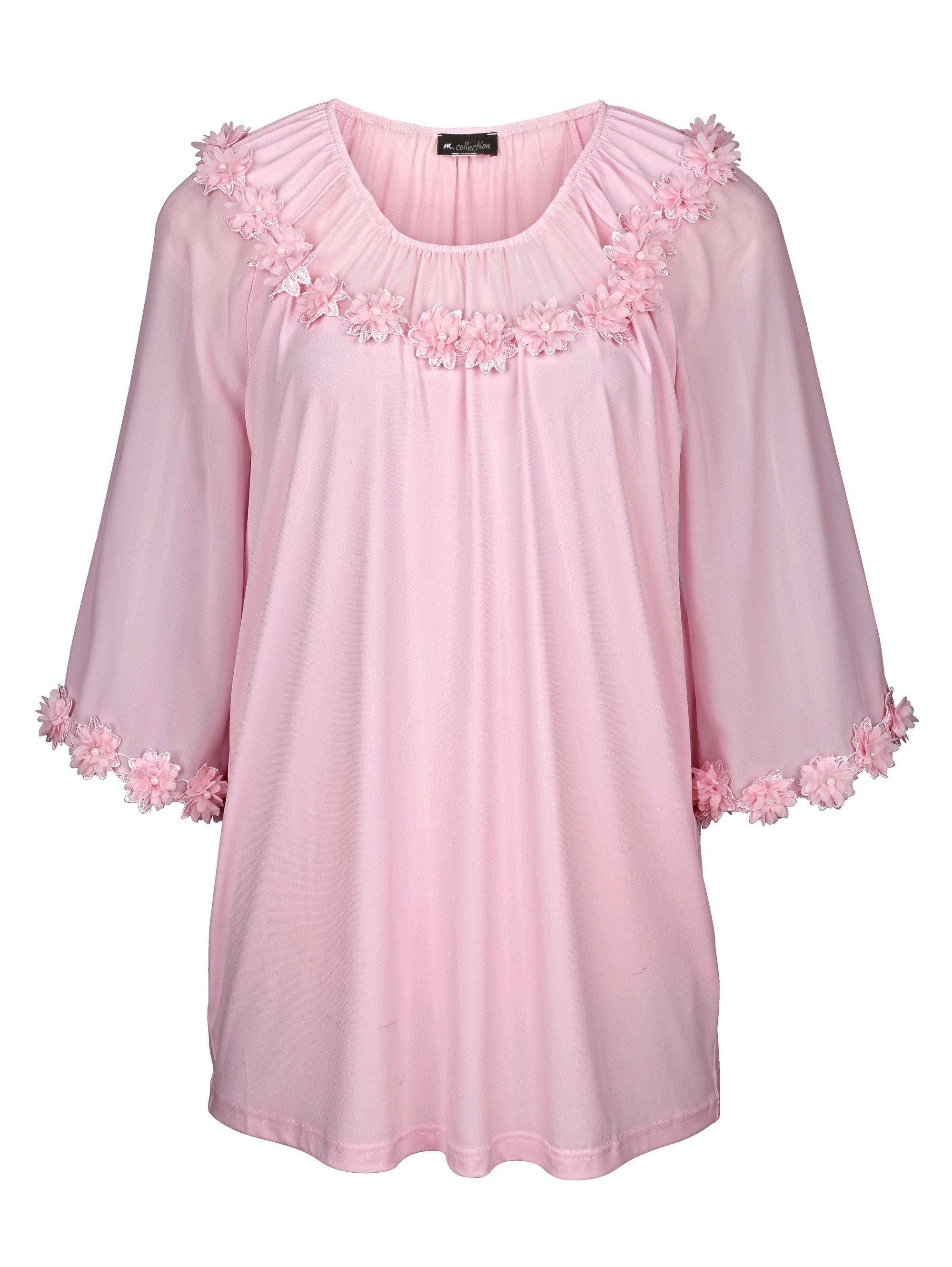 m. collection Shirt mit Dekoblümchen, rosa, Damen