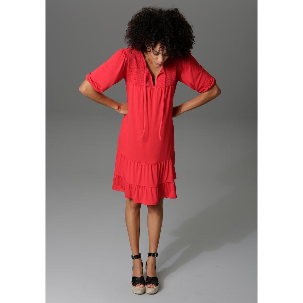 Aniston CASUAL Jerseykleid, mit dekorativem Smok-Einsatz - NEUE KOLLEKTION