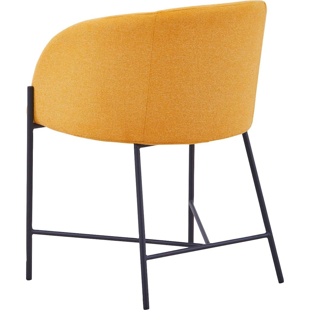 SalesFever Esszimmerstuhl, mit mattschwarzem Metallgestell