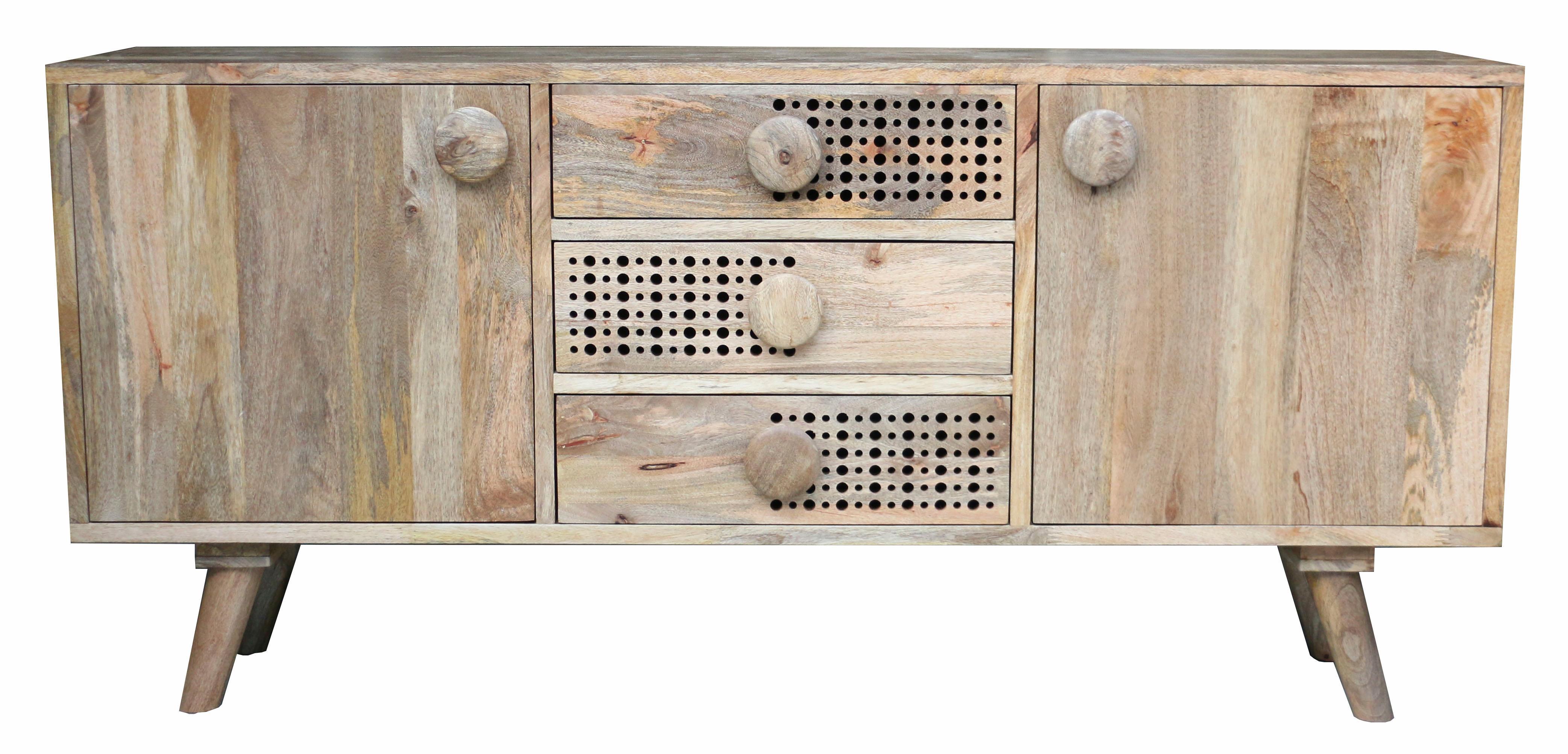Home affaire Sideboard Dell Breite 180 cm mit dekorativem Lochmuster in den Schubladenfronten