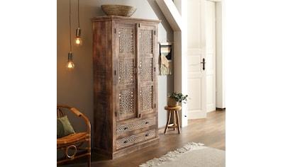 Home affaire Kleiderschrank »Maneesh«, aus schönem massivem Mangoholz und vielen Stauraummöglichkeiten, Höhe 190 cm kaufen