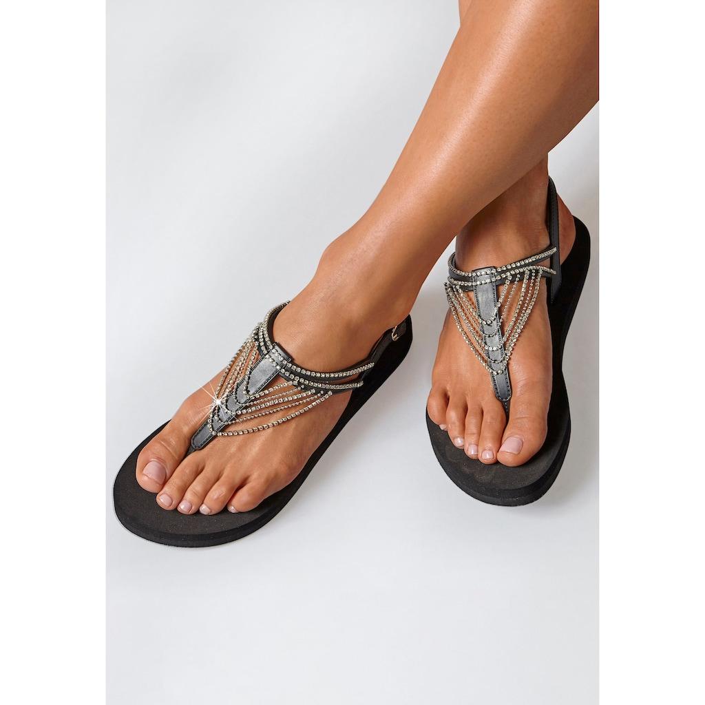 LASCANA Zehentrenner, Sandale mit Strass-Kettchen