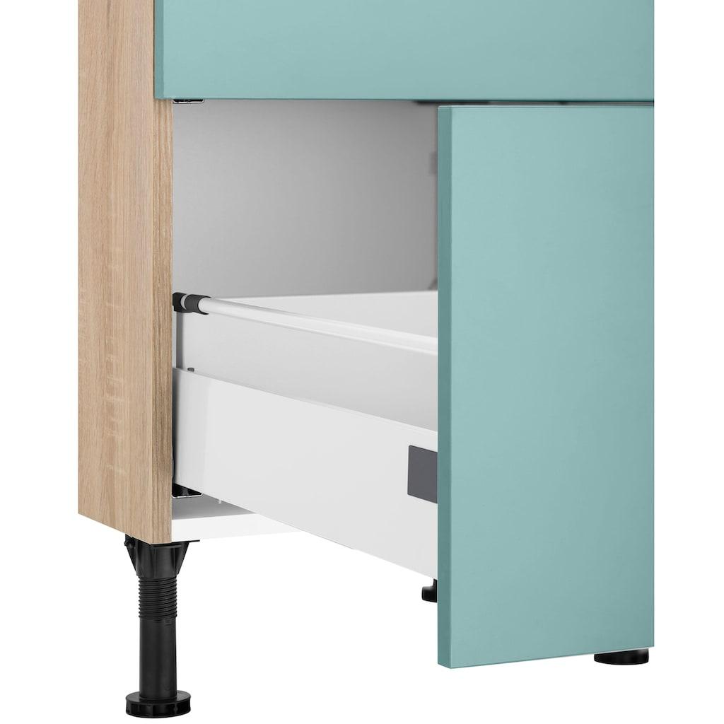 OPTIFIT Kochfeldumbauschrank »Elga«, mit Soft-Close-Funktion, großen Vollauszügen, höhenverstellbaren Füßen und Metallgriffen, Breite 60 cm