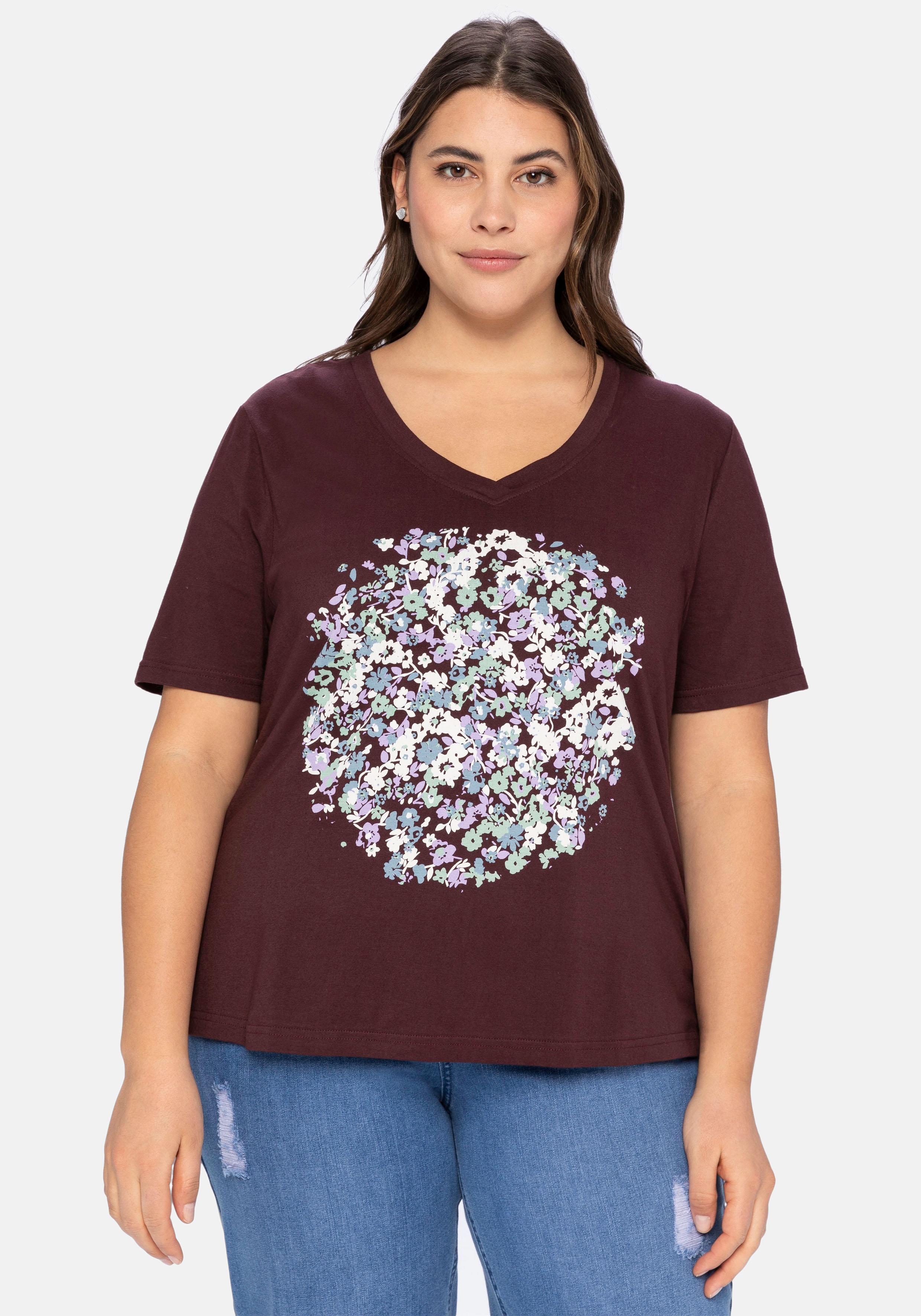 sheego -  T-Shirt, aus Baumwolle, mit Frontdruck