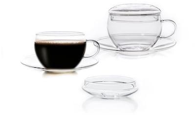 Creano Tasse, (Set, 2 tlg., 2 Tassen, 2 Untertassen), inkl. integriertem Glasdeckel,... kaufen