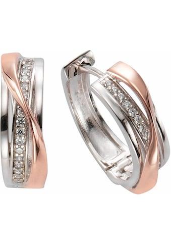 Firetti Paar Creolen »zweifarbig, geschwungenes Design«, mit Zirkonia kaufen
