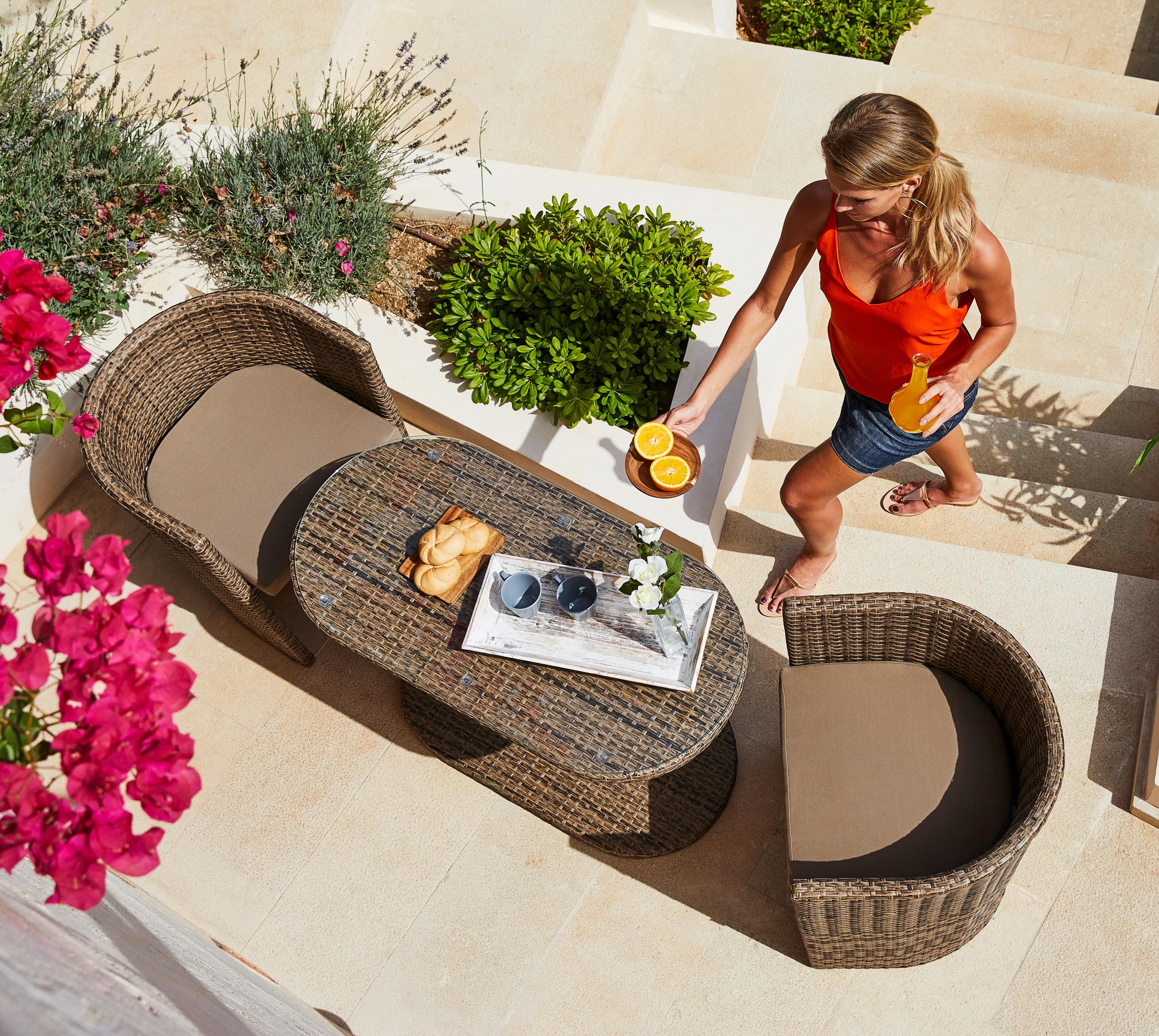 MERXX Gartenmöbelset Ancona Wicker 5-tlg 2 Sessel ovaler Tisch Polyrattan