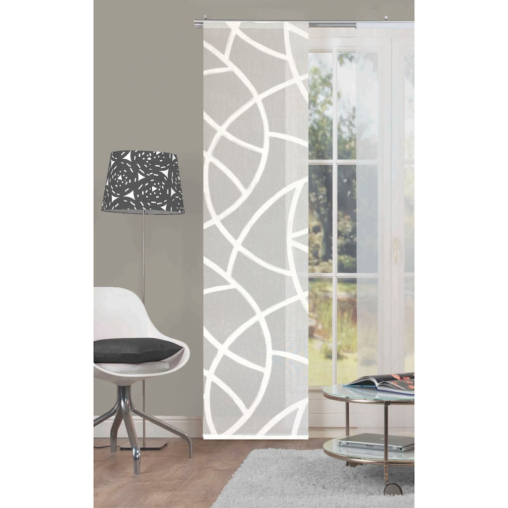 HOME WOHNIDEEN Schiebegardine »CASSÉ«, Leinen-Voile, mit transparentem Scherli