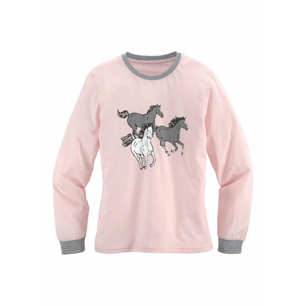 petite fleur Pyjama, in langer Form mit Pferde Print
