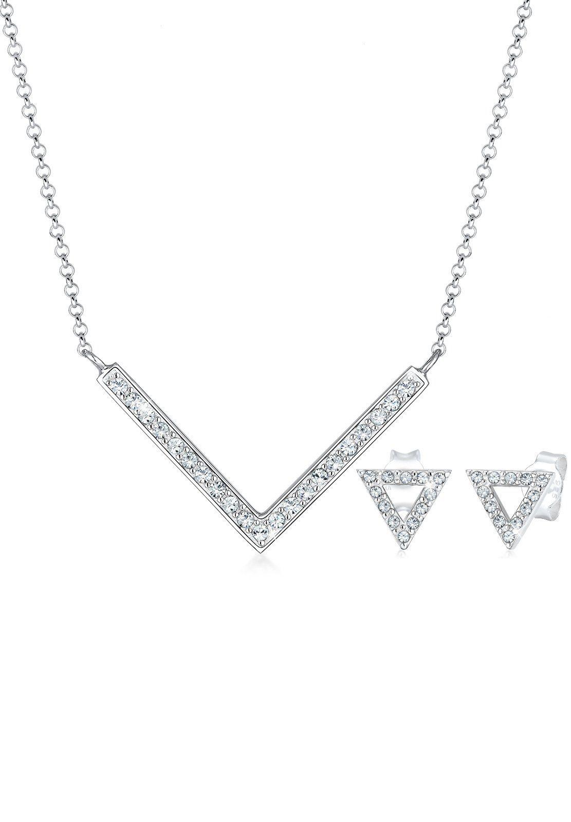 Elli Schmuckset Dreieck Geo Swarovski Kristalle Edgy 925 Silber | Schmuck > Schmucksets | Elli